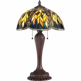 TF1562TRS Quoizel Grove Tiffany Table Lamp 120v A19 Medium Base (2) Light with Russet Finish