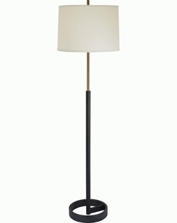 TF5115-76 Trend Rotunda Floor Lamp with Off-White/ Hand Painted Antique Gold & Matte Black Finish (DISCONTINUED PRODUCT)