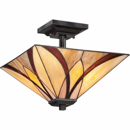 TFAS1714VA Quoizel Asheville Semi-Flush Mount 120v A19 Medium Base (2) Light with Valiant Bronze Finish