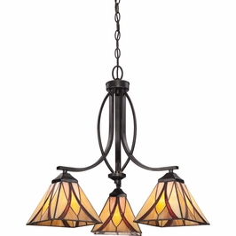 TFAS5003VA Quoizel Asheville Chandelier 120v A19 Medium Base (3) Light with Valiant Bronze Finish