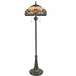 TFBF9362VB Quoizel Belle Fleur Tiffany Floor Lamp 120v A19 Medium Base (3) Light with Vintage Bronze Finish
