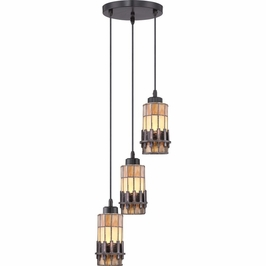 TFCS1510VB Quoizel Chastain Mini Pendants 120v A19 Medium Base (3) Light with Vintage Bronze Finish