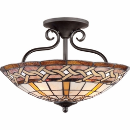 TFCW1719IB Quoizel Cross Weave Imperial Bronze (4) Light Semi-Flush Mount