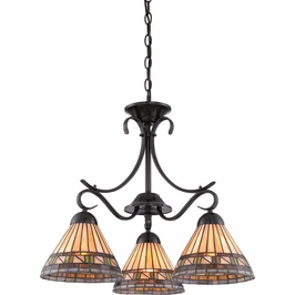 TFEC5103VB Quoizel Estacado Chandelier 120v A19 Medium Base (3) Light with Vintage Bronze Finish