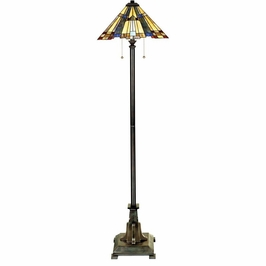 TFF16191A5VA Quoizel Inglenook Tiffany Floor Lamp 120v A19 Medium Base (2) Light with Valiant Bronze Finish