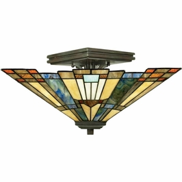 TFIK1714VA Quoizel Inglenook Semi-Flush Mount 120v A19 Medium Base (2) Light with Valiant Bronze Finish