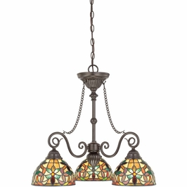 TFKM5103VB Quoizel Kami Chandelier 120v A19 Medium Base (3) Light with Vintage Bronze Finish