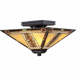 TFNO1714VA Quoizel Navajo Semi-Flush Mount 120v A19 Medium Base (2) Light with Valiant Bronze Finish