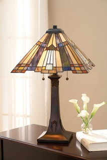 TFT16191A1VA Quoizel Inglenook Tiffany Table Lamp 120v A19 Medium Base (2) Light with Valiant Bronze Finish