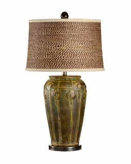 21709-2 Wildwood Lamps Chetola Lamp - Green And Gold Art Glaze/Bronze Finish