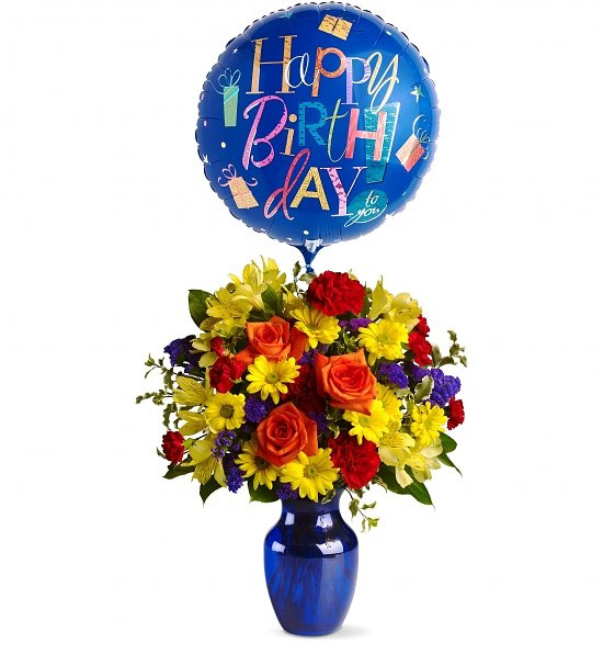 Colorful Fresh Flowers And Balloon