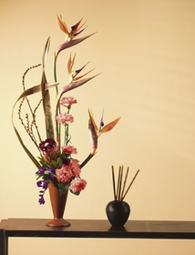 IKEBANA Japanise design Tropical with Birds of Paradise
