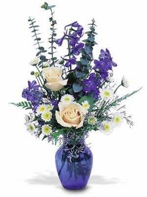 Purple Flowers Blue Vase
