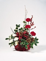 T082-03 Red Basket Arrangement