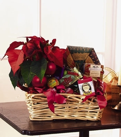 T085-01 Gourmet Basket with Poinsettia