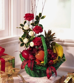 T085-03 Fruit Basket with Carnations