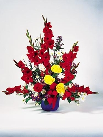 T125-02 Red Gladiolus Arrangement