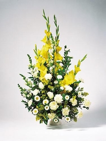 T125-03 Yellow Gladiolus Arrangement