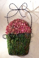 Wire Wall Planter With Dried Mini Roses