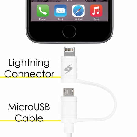 Lightning cable with 2-in-1 Micro USB(3.2 Feet/1 Meter)-White