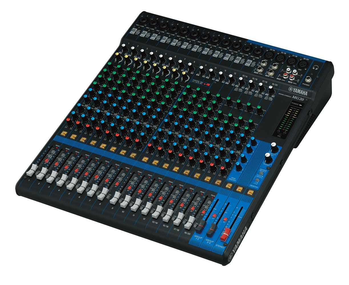 20 Channel Mixing Console Max 16 Mic Line Inputs 12 Mono 4 To Stereo Circuit Group Buses 1 Bus Aux Incl Fx Mg20