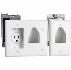 Datacomm Recessed Low Voltage Cable Plate with Recessed Power Kit - 50-3321-wh-kit