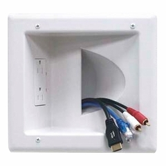 Datacomm Recessed Low Voltage Media Wall Plate with Duplex Receptacle - 45-0031-WH