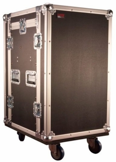 Gator Cases ATA Wood Flight Pop-Up Console Rack Case; 10U Top; 14U Bottom; w/ Casters - G-TOUR 10X14 PU