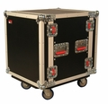 "Gator Cases ATA Wood Flight Rack Case; 12U; 17"" Deep; w/ Casters - G-TOUR 12U CAST"