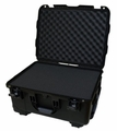 "Gator Cases Black injection molded case with pullout handle, inline wheels, and Interior dims 20.5"" x 15.3"" x 10.1"". DICED FOAM - GU-2015-10-WPDF"