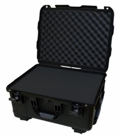 """Gator Cases Black injection molded case with pullout handle, inline wheels, and Interior dims 20.5"""" x 15.3"""" x 10.1"""". DICED FOAM - GU-2015-10-WPDF"""