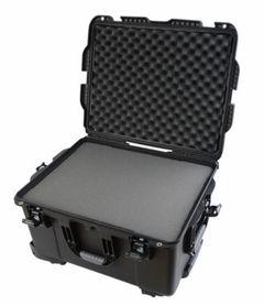 "Gator Cases Black injection molded case with pullout handle, inline wheels, and interior dims 22"" x 17"" x 12.9"". DICED FOAM - GU-2217-13-WPDF"