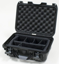 "Gator Cases Black waterproof injection molded case with interior dimensions of 13.8"" x 9.3"" x 6.2"". INTERNAL DIVIDER SYSTEM - GU-1309-06-WPDV"