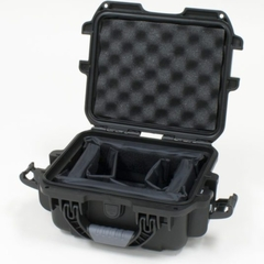 """Gator Cases Black waterproof injection molded case with interior dimensions of 9.4"""" x 7.4"""" x 5.5"""" . INTERNAL DIVIDER SYSTEM - GU-0907-05-WPDV"""