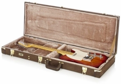 Gator Cases Deluxe Wood Case for Electric Guitars; Vintage Brown Exterior - GW-ELECT-VIN