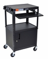 """Luxor Black 42"""" Adjustable Height Table w/keyboard tray and cabinet - AVJ42KBC"""