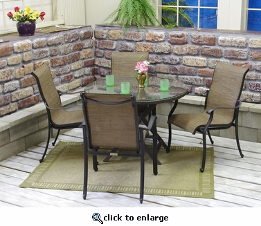 5 Piece Stackable Sling Dining Set with Folding Table