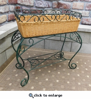Wrought Iron & Wicker Plant Stand (UPS $45)