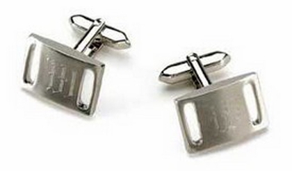 Engraved Marlon Brushed Silver Cufflinks