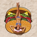 Giant Burger Beach Blanket