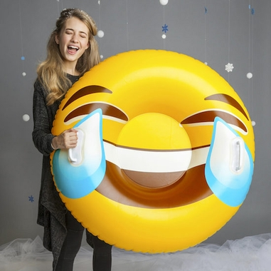 Giant Tears of Joy Emoji Snow Tube