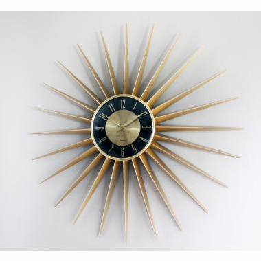 Gold Sunshine Wall Clock