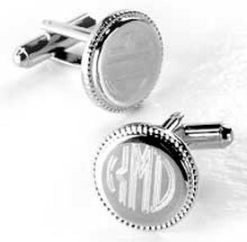 Personalized Monogrammed Cufflinks - Silver Plated