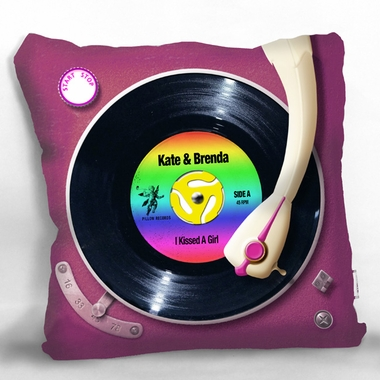 Personalized Rainbow Record Player Pillow