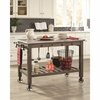 100527 Industrial Kitchen Island with Casters
