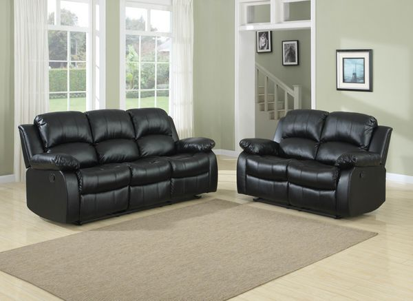 2 PC Recliner Sofa And Loveseat Bonded Match