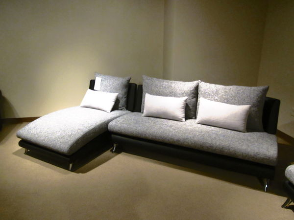 Modern living room sectional sofa with chaise fabric vinyl for Armless sectional sofa chaise