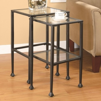 2 Piece Glass and Metal Nesting Tables