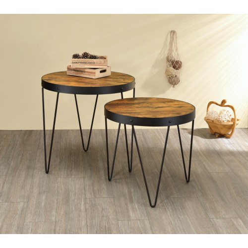 2 Piece Nesting Table Set With Hairpin Legs