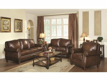 3 PC Montbrook Traditional Geniune Leather Living room set